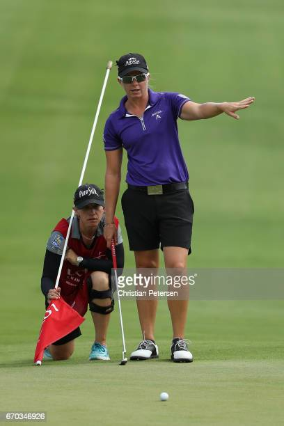 Alena Sharp of Canada looks over the ninth green during the final round of the LPGA LOTTE Championship Presented By Hershey at Ko Olina Golf Club on...