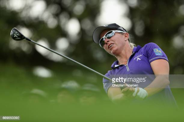 Alena Sharp of Canada plays a tee shot on the 16th hole during the final round of the LPGA LOTTE Championship Presented By Hershey at Ko Olina Golf...