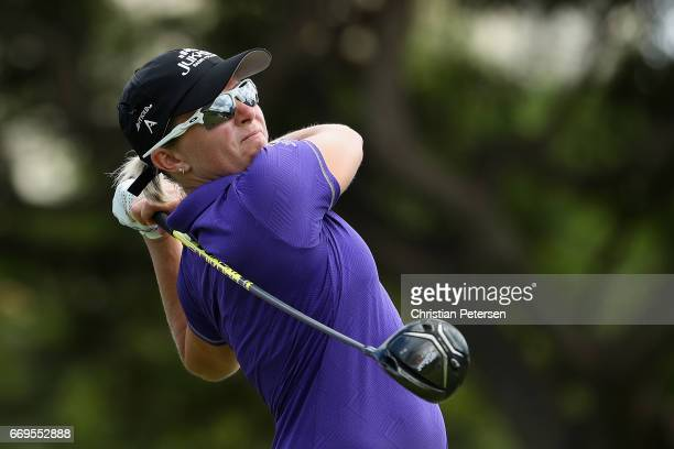 Alena Sharp of Canada plays a tee shot on the ninth hole during the final round of the LPGA LOTTE Championship Presented By Hershey at Ko Olina Golf...