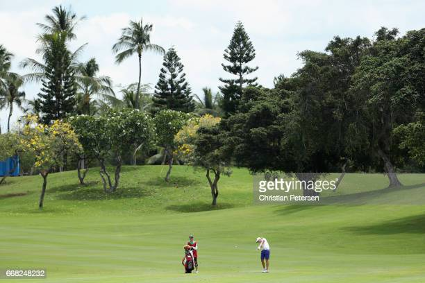 Alena Sharp of Canada plays her second shot on the 18th hole during the second round of the LPGA LOTTE Championship Presented By Hershey at Ko Olina...