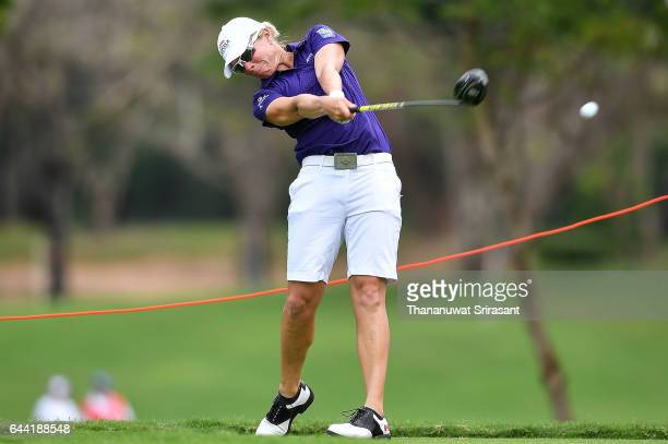 Alena Sharp of Canada plays the shot during round one of the Honda LPGA Thailand at Siam Country Club on February 23 2017 in Chonburi Thailand