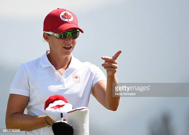 Alena Sharp of Canada prepares to play her shot from the fourth tee during the First Round of Women's Golf at Olympic Golf Course on Day 12 of the...