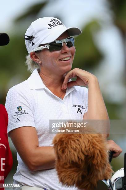 Alena Sharp of Canada waits to tee off on the 12th hole during the second round of the LPGA LOTTE Championship Presented By Hershey at Ko Olina Golf...
