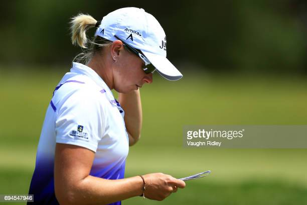 Alena Sharp of Canada walks down the 1st fairway during the third round of the Manulife LPGA Classic at Whistle Bear Golf Club on June 10 2017 in...