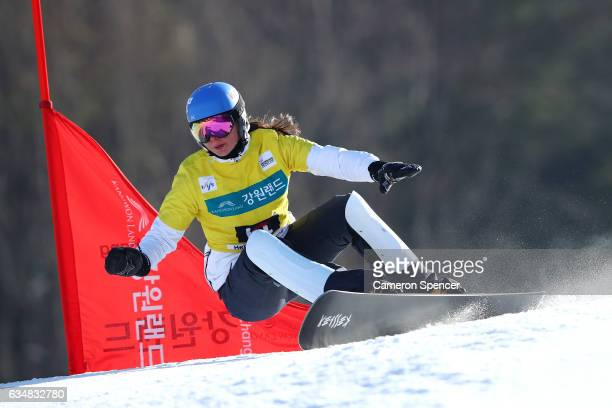 Alena Zavarzina of Russia competes in the FIS Freestyle World Cup Parallel Giant Slalom Ladies Final at Bokwang Snow Park on February 12 2017 in...