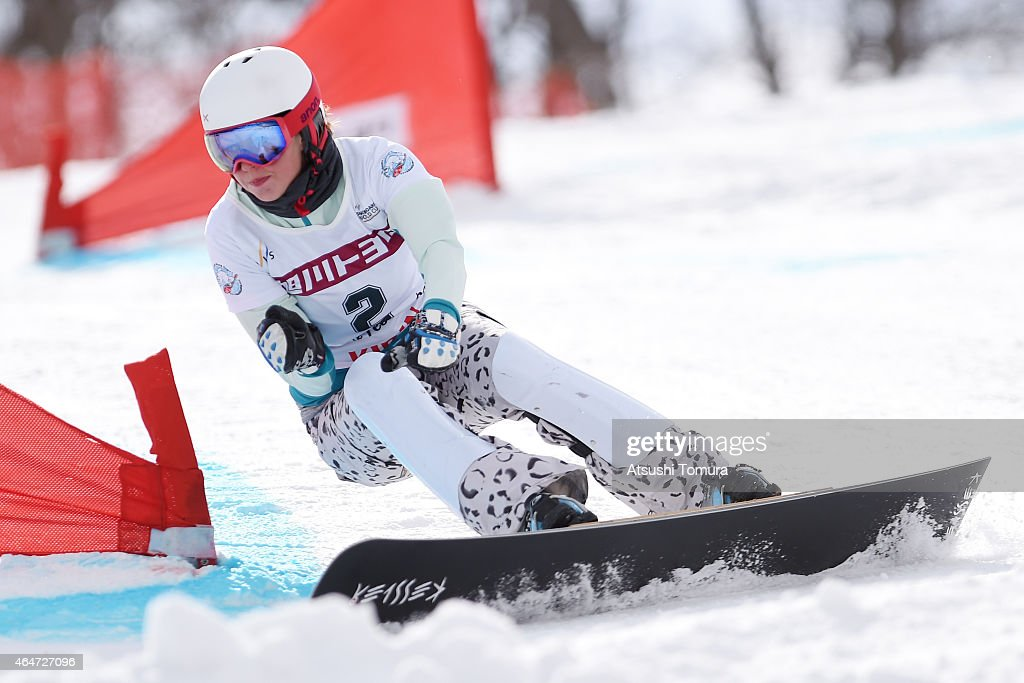 <a gi-track='captionPersonalityLinkClicked' href=/galleries/search?phrase=Alena+Zavarzina&family=editorial&specificpeople=6598104 ng-click='$event.stopPropagation()'>Alena Zavarzina</a> of Russia competes in the Ladies Parallel Giant Slalom on the day one during FIS Snowboard World Cup - Alpine Snowboard on February 28, 2015 in Asahikawa, Japan.