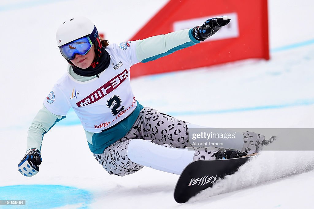 <a gi-track='captionPersonalityLinkClicked' href=/galleries/search?phrase=Alena+Zavarzina&family=editorial&specificpeople=6598104 ng-click='$event.stopPropagation()'>Alena Zavarzina</a> of Russia competes in the Ladies Parallel Slalom on the day two during FIS Snowboard World Cup - Alpine Snowboard on March 1, 2015 in Asahikawa, Japan.