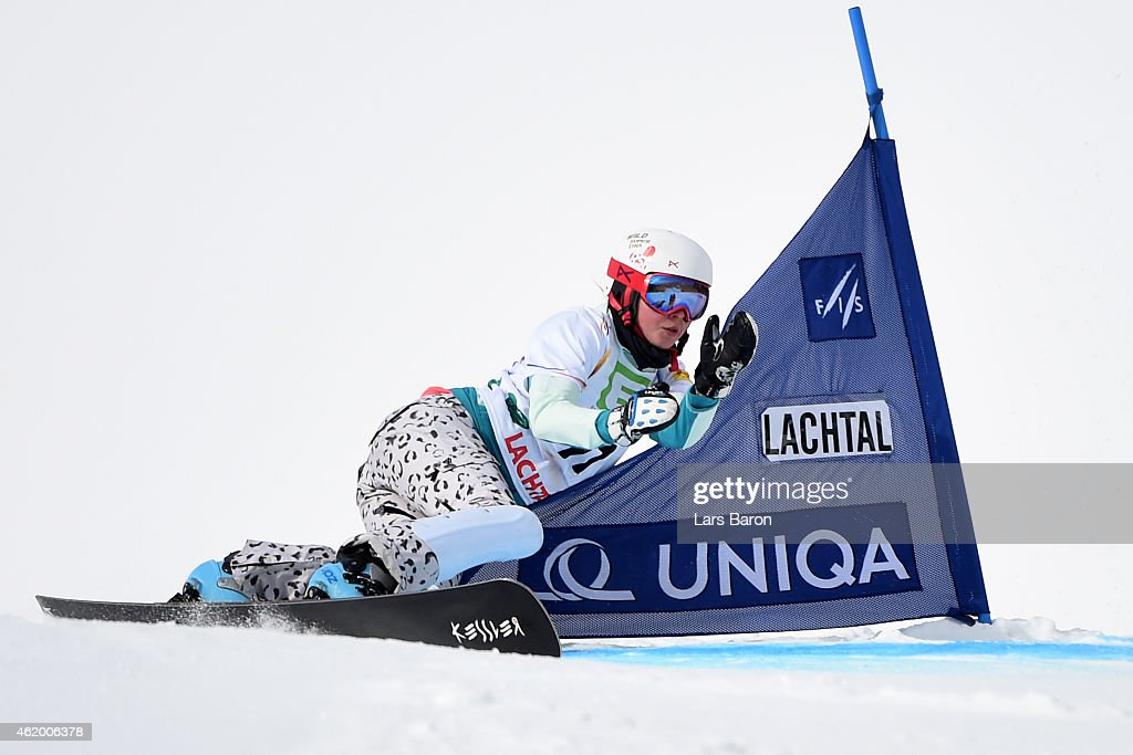 <a gi-track='captionPersonalityLinkClicked' href=/galleries/search?phrase=Alena+Zavarzina&family=editorial&specificpeople=6598104 ng-click='$event.stopPropagation()'>Alena Zavarzina</a> of Russia of Switzerland competes in the Women's Parallel Giant Slalom Finals during the FIS Freestyle Ski and Snowboard World Championships 2015 on January 23, 2015 in Lachtal, Austria.
