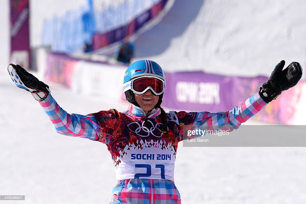 <a gi-track='captionPersonalityLinkClicked' href=/galleries/search?phrase=Alena+Zavarzina&family=editorial&specificpeople=6598104 ng-click='$event.stopPropagation()'>Alena Zavarzina</a> of Russia reacts during the Snowboard Ladies' Parallel Giant Slalom Finals on day twelve of the 2014 Winter Olympics at Rosa Khutor Extreme Park on February 19, 2014 in Sochi, Russia.