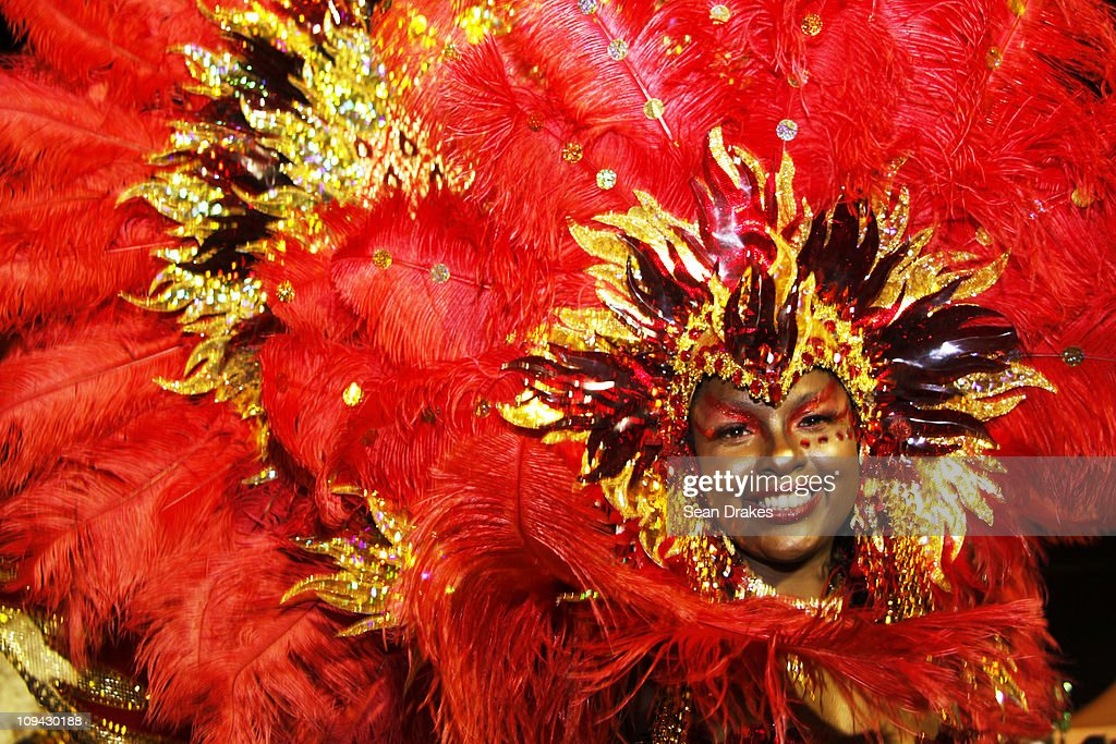 Alendra Bailey, of D' Midas & Associates, portrays 'Goddess of Fire' at the King and Queen of Carnival premilinaries at the Queen's Park Savannah on Februrary 24, 2011 in Port of Spain, Trinidad.