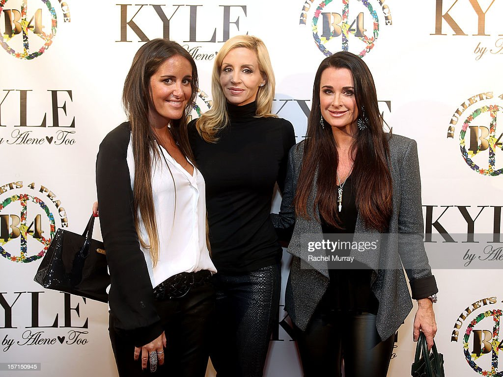 Alene Too founder Lizzy Schwartz, tv personality Camille Grammer, and Alene Too founder Kyle Richards attend Kyle By Alene Too holiday shopping event featuring Bullets For Peace benefiting Safe Passage Charity on November 28, 2012 in Beverly Hills, California.