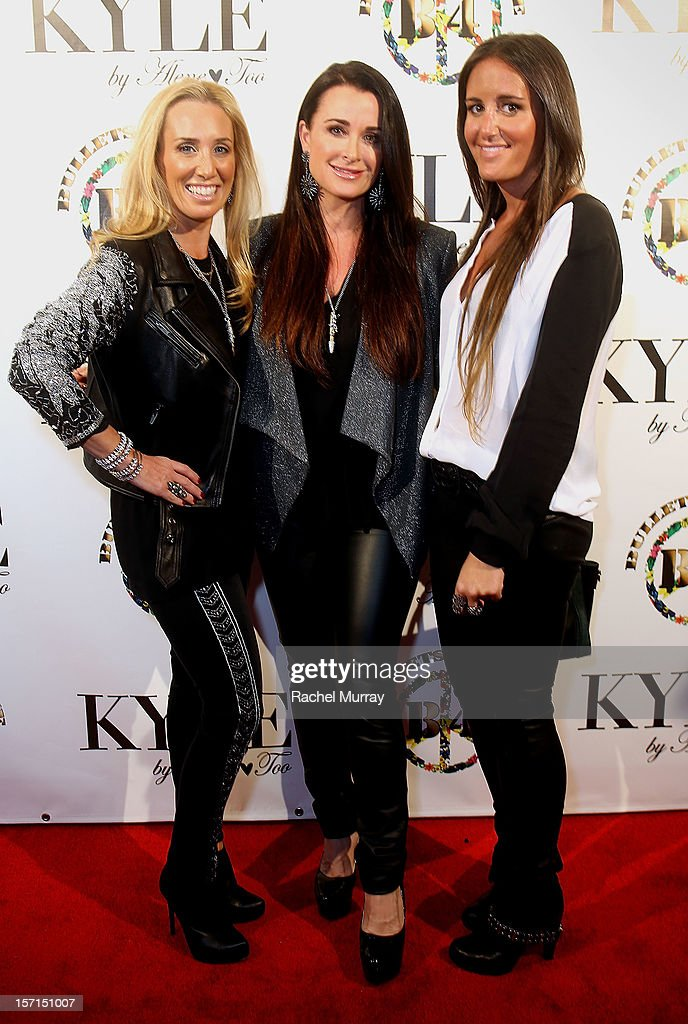 Alene Too founders Debbie Weisman, Kyle Richards, and Lizzy Schwartz attend Kyle By Alene Too holiday shopping event featuring Bullets For Peace benefiting Safe Passage Charity on November 28, 2012 in Beverly Hills, California.