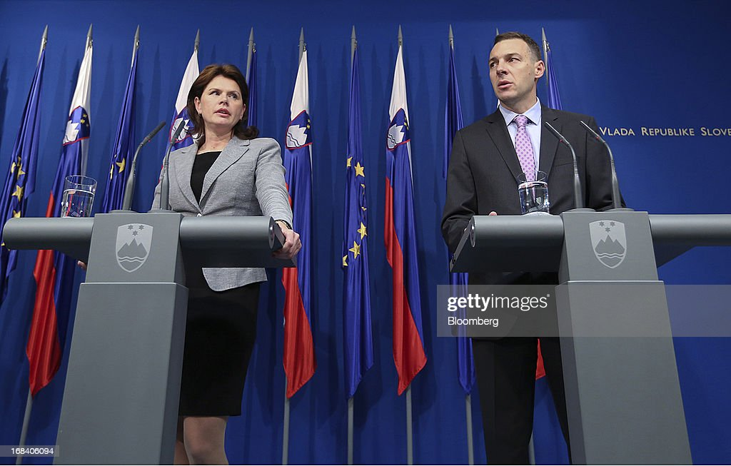 Alenka Bratusek, Slovenia's prime minister, left, and Uros Cufer, Slovenia's finance minister, speak during a news conference in Ljubljana, Slovenia, on Thursday, May 9, 2013. Slovenia offered an economic overhaul that includes tax increases as the government seeks to prove it's able to pull itself out of a recession and a banking crisis without outside assistance. Photographer: Chris Ratcliffe/Bloomberg via Getty Images