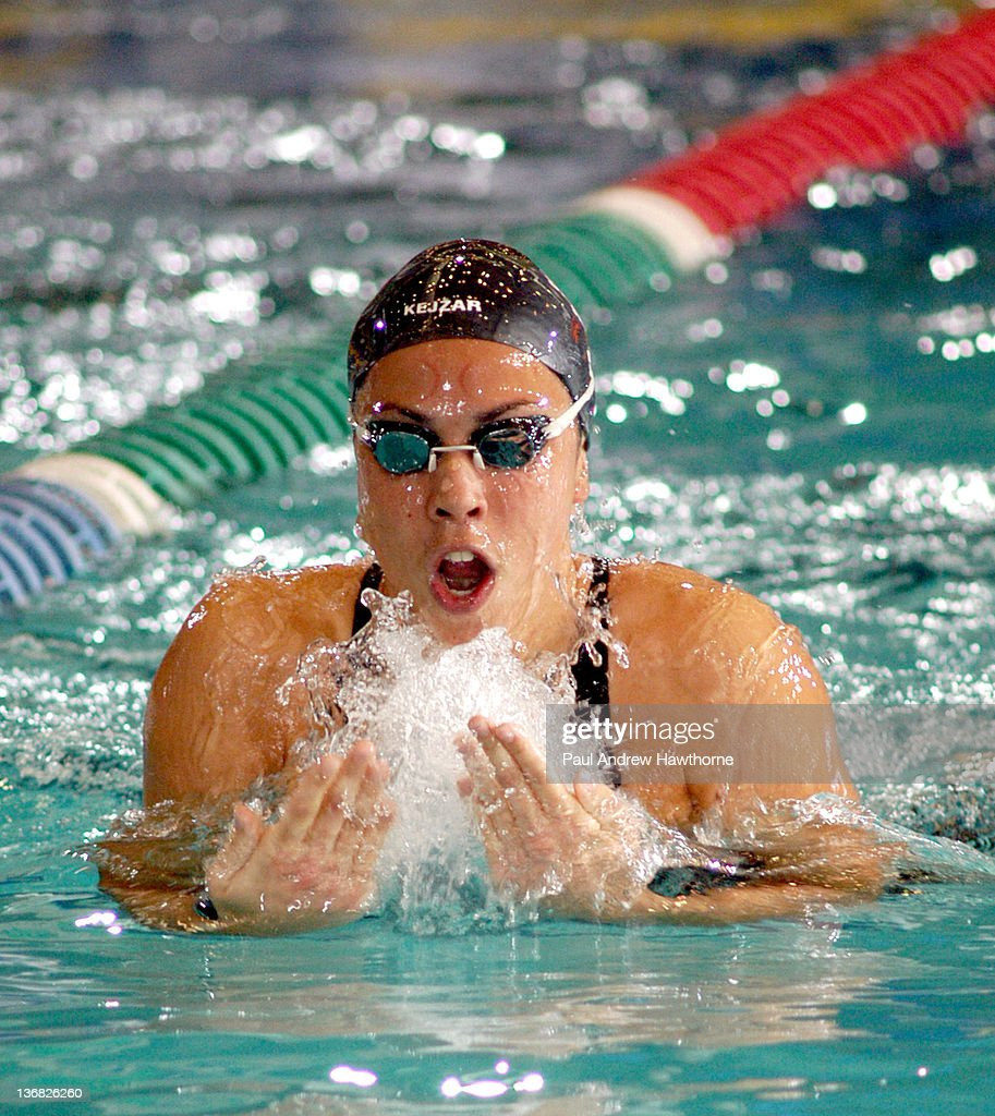 Alenka Kejzar of Slovenia competes in the Women's 200 Meter IM Prelim heat during the 2004 FINA Swimming World Cup in East Meadow New York January 30...