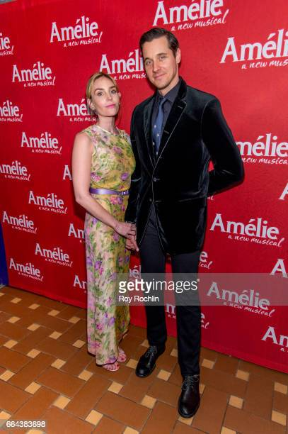 Aleque Reid and Heath Calvert attend the 'Amelie' Broadway Opening Night After Party the at 30 Rockefeller Plaza on April 3 2017 in New York City