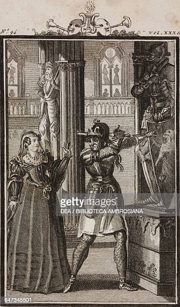 Alerico king of the Goths trying to kill his daughter Rosmonda engraving by Antonio Viviani from a drawing by G Steneri from Rosmonda Act I Scene 1...