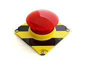 Alert Button Isolated On White With Clipping Path