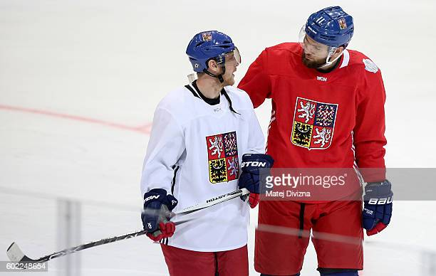 Ales Hemsky and Martin Hanzal of Czech Republic attend during a practice for the 2016 World Cup Of Hockey preparation match between Czech Republic...