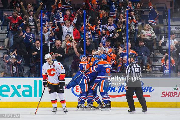 Ales Hemsky David Perron Taylor Hall and Ryan NugentHopkins of the Edmonton Oilers celebrate the gametying goal by Taylor Hall to force overtime...