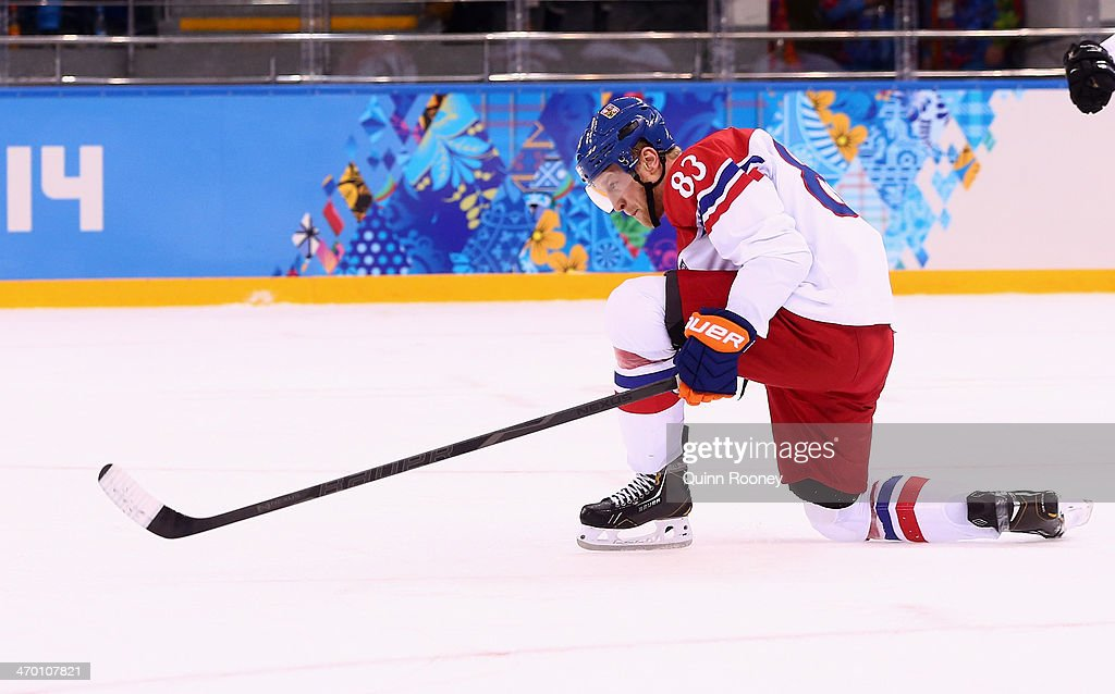 <a gi-track='captionPersonalityLinkClicked' href=/galleries/search?phrase=Ales+Hemsky&family=editorial&specificpeople=202828 ng-click='$event.stopPropagation()'>Ales Hemsky</a> #83 of Czech Republic celebrates after scoring in the first period against Slovakia during the Men's Qualification Playoff Game on day 11 of the Sochi 2014 Winter Olympics at Shayba Arena on February 18, 2014 in Sochi, Russia.
