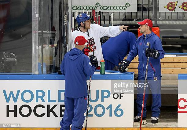 Ales Hemsky of Czech Republic speaks with Czech head coach Josef Jandac during a practice for the 2016 World Cup Of Hockey preparation match between...