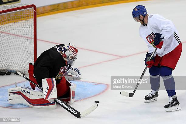 Ales Hemsky of Czech Republic tries to score over Czech goalkeeper Ondrej Pavelec during a practice for the 2016 World Cup Of Hockey preparation...