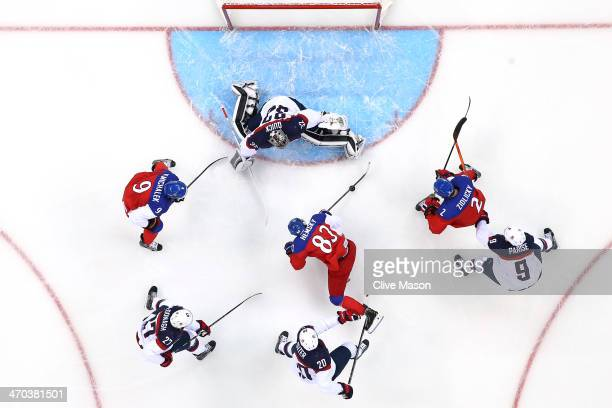 Ales Hemsky of the Czech Republic scores a goal against Jonathan Quick of the United States in the first period during the Men's Ice Hockey...