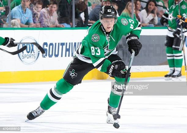 Ales Hemsky of the Dallas Stars handles the puck against the Nashville Predators at the American Airlines Center on April 11 2015 in Dallas Texas