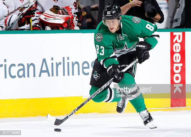 Ales Hemsky of the Dallas Stars handles the puck against the Chicago Blackhawks at the American Airlines Center on March 11 2016 in Dallas Texas