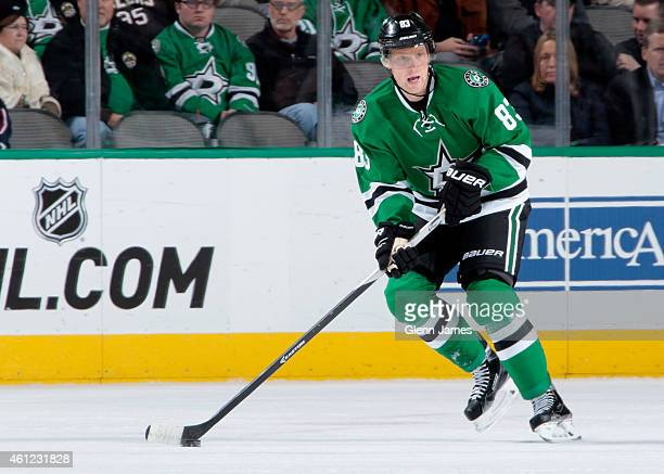 Ales Hemsky of the Dallas Stars handles the puck against the Columbus Blue Jackets at the American Airlines Center on January 6 2015 in Dallas Texas