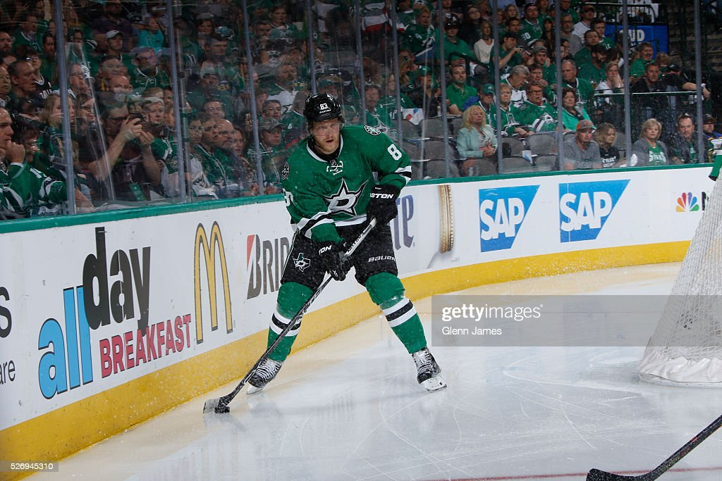 Ales Hemsky #83 of the Dallas Stars handles the puck against the St. Louis Blues in Game Two of the Western Conference Second Round during the 2016 NHL Stanley Cup Playoffs at the American Airlines Center on May 1, 2016 in Dallas, Texas.