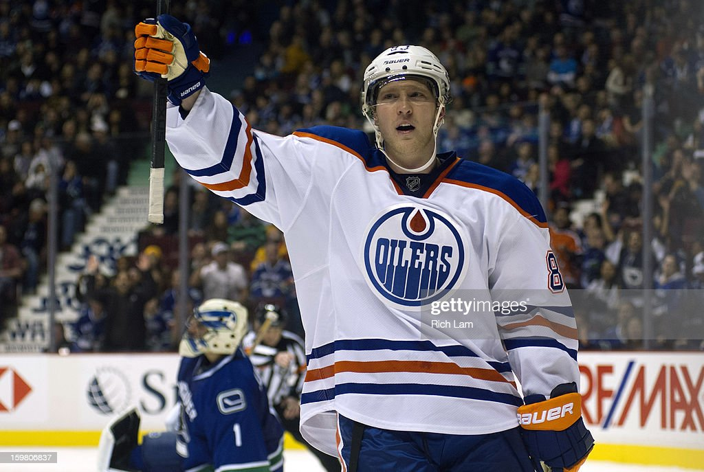 <a gi-track='captionPersonalityLinkClicked' href=/galleries/search?phrase=Ales+Hemsky&family=editorial&specificpeople=202828 ng-click='$event.stopPropagation()'>Ales Hemsky</a> #83 of the Edmonton Oilers celebrates after scoring on goalie <a gi-track='captionPersonalityLinkClicked' href=/galleries/search?phrase=Roberto+Luongo&family=editorial&specificpeople=202638 ng-click='$event.stopPropagation()'>Roberto Luongo</a> #1 of the Vancouver Canucks to end the game during the shootout in NHL action on January 20, 2013 at Rogers Arena in Vancouver, British Columbia, Canada. The Oilers defeated the Canucks 3-2