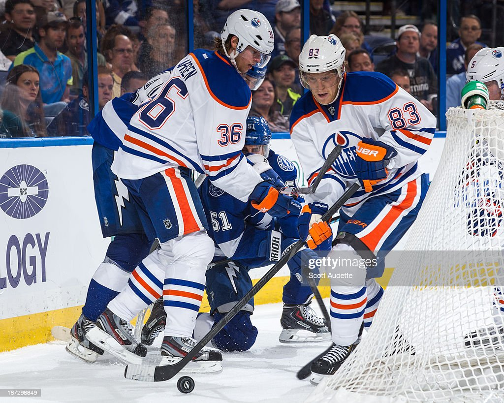 <a gi-track='captionPersonalityLinkClicked' href=/galleries/search?phrase=Ales+Hemsky&family=editorial&specificpeople=202828 ng-click='$event.stopPropagation()'>Ales Hemsky</a> #83 of the Edmonton Oilers controls the puck during the third period against the Tampa Bay Lightning at the Tampa Bay Times Forum on November 7, 2013 in Tampa, Florida.