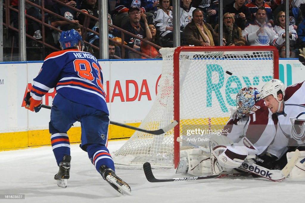 <a gi-track='captionPersonalityLinkClicked' href=/galleries/search?phrase=Ales+Hemsky&family=editorial&specificpeople=202828 ng-click='$event.stopPropagation()'>Ales Hemsky</a> #83 of the Edmonton Oilers scores a goal on <a gi-track='captionPersonalityLinkClicked' href=/galleries/search?phrase=Semyon+Varlamov&family=editorial&specificpeople=6264893 ng-click='$event.stopPropagation()'>Semyon Varlamov</a> #1 of the Colorado Avalanche on February 16, 2013 at Rexall Place in Edmonton, Alberta, Canada.