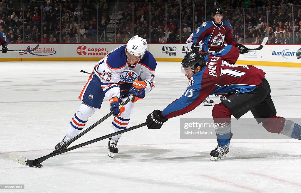 <a gi-track='captionPersonalityLinkClicked' href=/galleries/search?phrase=Ales+Hemsky&family=editorial&specificpeople=202828 ng-click='$event.stopPropagation()'>Ales Hemsky</a> #83 of the Edmonton Oilers skates against PA Parenteau #15 of the Colorado Avalanche at the Pepsi Center on March 12, 2013 in Denver, Colorado.