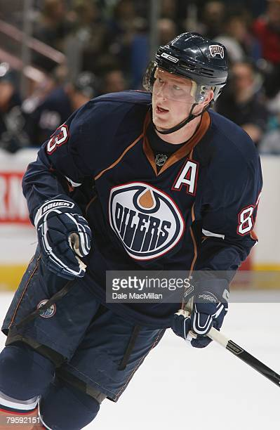 Ales Hemsky of the Edmonton Oilers skates against the San Jose Sharks during their NHL game on January 29 2008 in Edmonton Alberta Canada