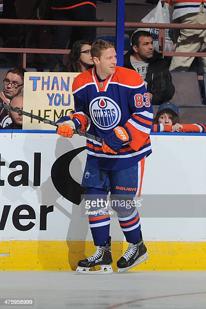 Ales Hemsky of the Edmonton Oilers skates on the ice prior to a game against the Calgary Flames on March 1 2014 at Rexall Place in Edmonton Alberta...
