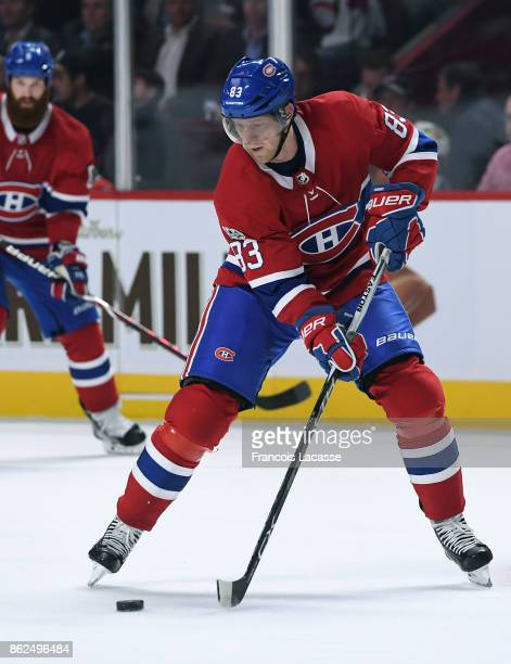 Ales Hemsky of the Montreal Canadiens passes the puck against the Chicago Blackhawks in the NHL game at the Bell Centre on October 10 2017 in...