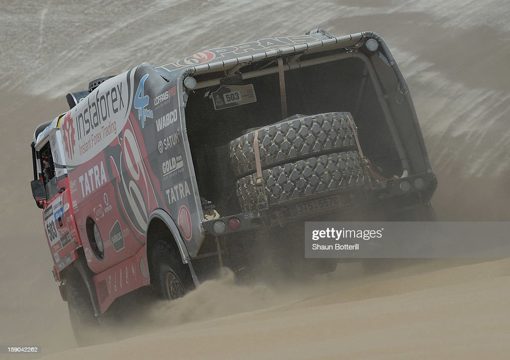 Ales Loprais of team Tatra competes during the stage from Pisco to Pisco on day two of the 2013 Dakar Rally on January 6, 2013 in Pisco, Peru.