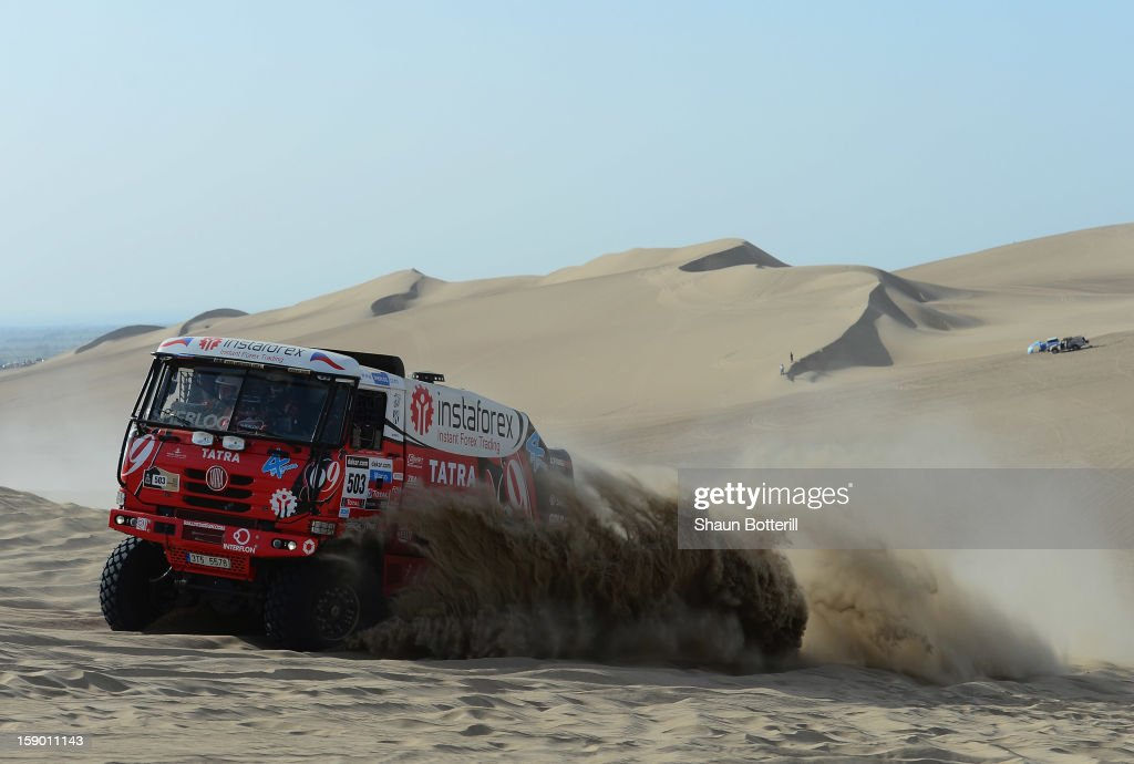 Ales Loprais of team Tatra competes in the special stage during day one of the of the 2013 Dakar Rally on January 5, 2013 in Pisco, Peru.
