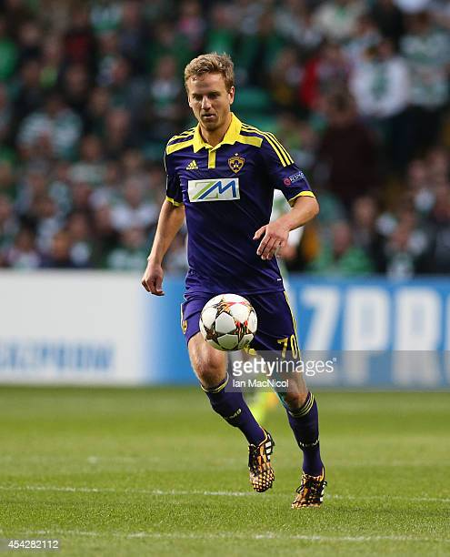 Ales Mertelj of NK Maribor controls the ball during the UEFA Champions League Qualifying PlayOffs Round Second Leg Match between Celtic and Maribor...