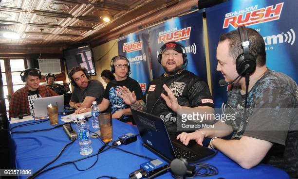Ales Metz Larry Dallas Dave LaGreca Wrestler Bully Ray and Doug Mortman laugh during the SiriusXM's Busted Open Live From WrestleMania 33on April 1...