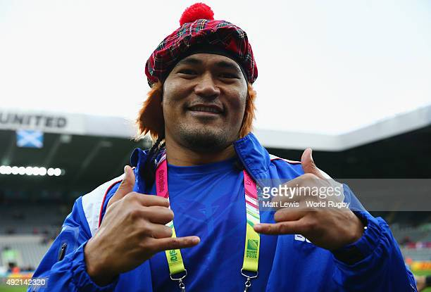 Alesana Tuilagi of Samoa dons a tam o shanter hat after the 2015 Rugby World Cup Pool B match between Samoa and Scotland at St James' Park on October...