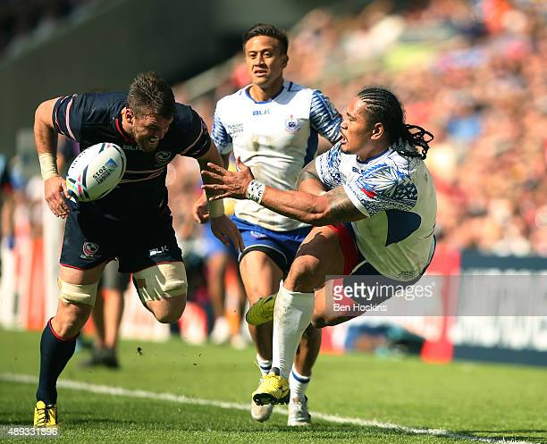 Alesana Tuilagi of Samoa passes during the 2015 Rugby World Cup Pool B match between Samoa and USA at Brighton Community Stadium on September 20 2015...