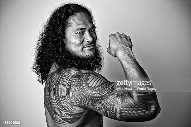 Alesana Tuilagi of Samoa poses for a portrait during the Samoa Rugby World Cup 2015 squad photo call at the Waterfront Hotel on September 13 2015 in...