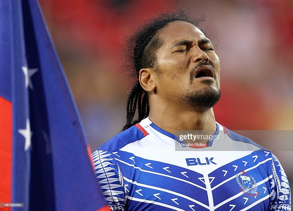 Alesana Tuilagi of Samoa sings the national anthem during the World Rugby Pacific Nations Cup match against Canada at BMO Field on July 29 2015 in...