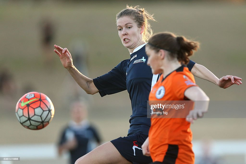 Alesha Clifford of the Stallion challenges for the ball during the women's National Premier League match between Blacktown and Marconi at Blacktown Football Park on May 29, 2016 in Sydney, Australia.