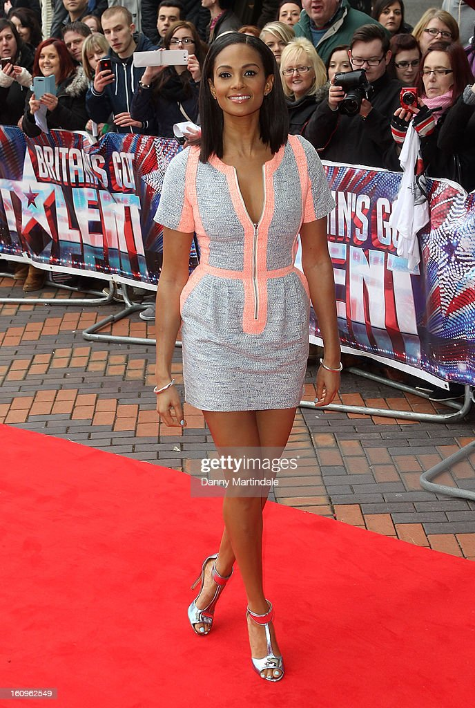 Alesha Dixon arrives for the Birmingham auditions of Britain's Got Talent at The ICC on February 8, 2013 in Birmingham, England.