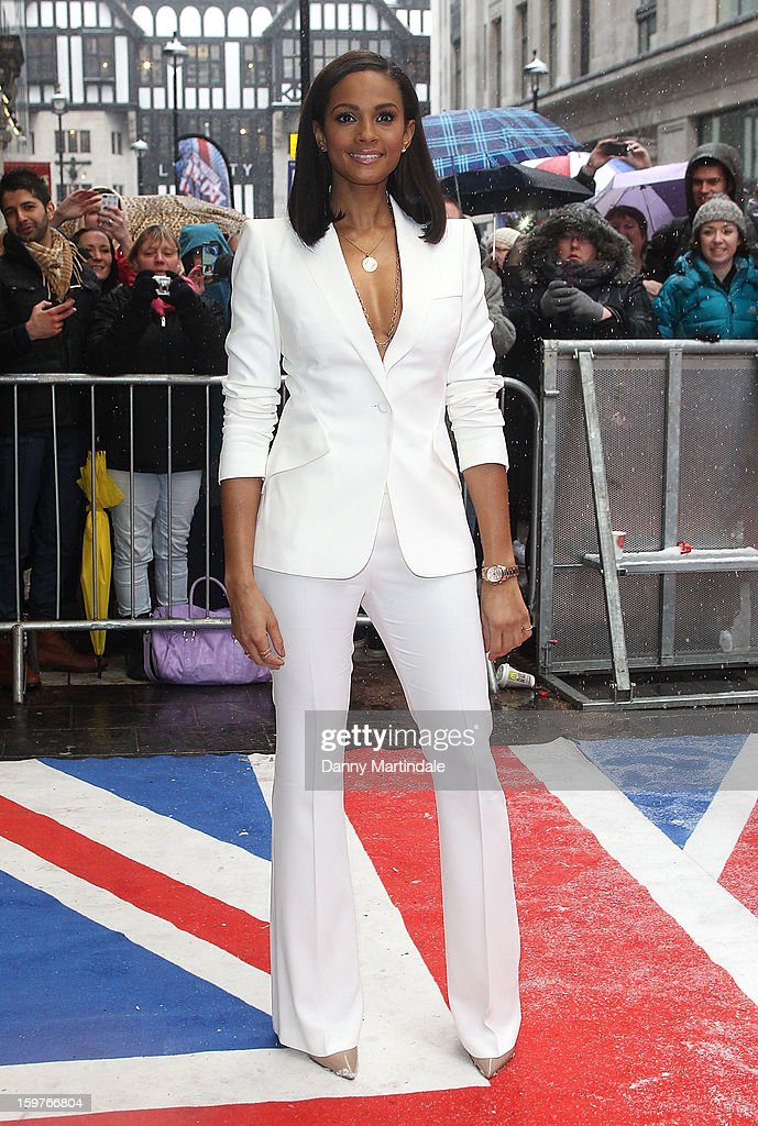 Alesha Dixon arrives for the London judges auditions for 'Britain's Got Talent' at London Palladium on January 20, 2013 in London, England.