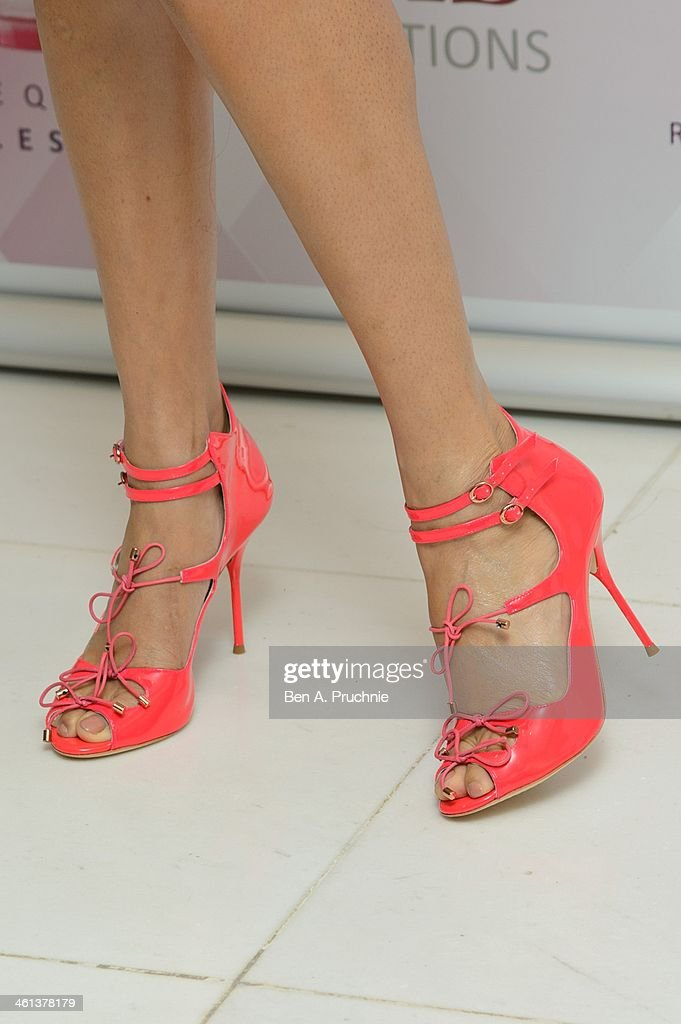 Alesha Dixon (shoe detail) attends a photocall to launch her new fragrance 'Rose Quartz' at St Martin's Lane Hotel on January 8, 2014 in London, England.